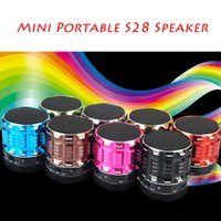 audio bookshelf speakers - S28 Mini Bluetooth Speakers Metal Steel Wireless Smart Hands Hi fi Speaker With FM Radio Support SD Card Colors Mixed DHL Free MIS094
