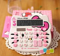 Wholesale Classic Hello Kitty Digits Solar Calculator Electronic Cartoon Lovely very cute counters white and pink color beautiful packing