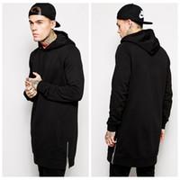 Wholesale 2015 New Arrival Fleece Plus Size Men Hip Hop Streetwear Longline Side Zipper Hoodies Sweatshirts
