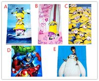 cotton beach towel - 2015 New Despicable me Big Hero avengers towel beach Children s bath towel Pure cotton Size cm DHL FreeShip