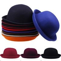Wholesale 2015 Women Lady Cashmere Derby Bowler Hats Charming Cloches Caps Colors Choose DDP
