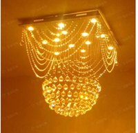 Cheap Lower level living room chandelier light dining room chandelier K9 crystal ball hanging lamp bedroom ideas modern square