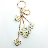 Wholesale DIY Top Selling High Quality Hot Fashion Golden Plated Four Leaves Grass Key Rings With Rhinestone for Sale