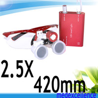 Wholesale CE Approved Dentist Head Light Dental Loupes Surgical Medical Binocular Loupes X mm Optical Glass Loupe Red Color