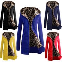 2016 Hiver Femmes Trench Fashion manches longues Plus Size Coat Casual long Épaissir Fur Woolen Leopard Hoodies Vestes Pardessus D21