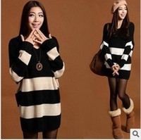Wholesale 2014 new arrival Women s sweater V neck thickening stripe loose long design batwing sleeve plus size sweater