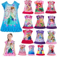 Wholesale 2016 NEW Children clothing girls dresses sleepwear frozen Cartoon Short sleeve dresses casual nightgown sleepwear more designs