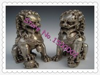 lion statue - Chinese Antique Silver Guardian Lion Foo Fu Dog Door guard Statue A Pair Statue
