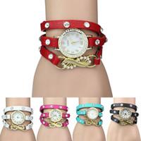 achat en gros de bracelets de rivets de fleurs en cuir-2015 chaud cuir vintage montre Wrist Strap Métal Fleur Rivet Bracelet