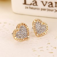 alloy logo - MK Michael Kores style Tone Logo earrings Heart love Crystal earings Fashion jewelry brand jewellery for women bride Silver Gold Rose Gold