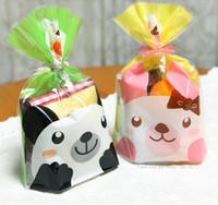 Precio de Bolsas de plástico para alimentos-Panda linda del conejo de plástico pequeño regalo bolsa de panadería Alimentos de embalaje bolsa de 100pc / lot dos estilos liberan