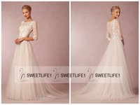amelie dresses - 2016 A Line New Arrival Amelie Wedding Gowns from BHLDN Vintage Appliques Elegant Jewel Neck Bridal Gowns with Half Sleeves Button Back