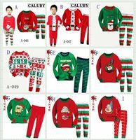 Wholesale 2014 hot sale kids christmas pajamas deer snow printed children pajama set long sleeve set boys girls leisure wear sleepwear homewear