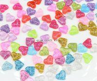 Cheap 400pcs sale mix colors diy Earrings nail art Heart Resin cabochon, Kawaii Glitter Jewelry Applique DIY craft item Small Flatback
