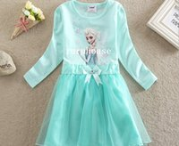 TuTu Winter A-Line Frozen Cosplay Elsa Anna Girl's Costume dresses tulle Long sleeve baby girl dress princess girls party dress children kids girl ball gown