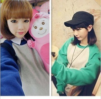 academic school - 2014 Autumn Korean version of the small fresh essential academic fashion spell color colored long sleeved sweater school uniforms on the str