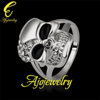 Wholesale 010 Size New Skull jewellery K White Gold Plated Enamel Skull Accessories Ring For Women