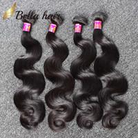 El cabello humano teje el pelo brasileño se extiende el pelo de la onda del cuerpo de las extensiones que teje trama la trama doble india peruana dulce de Malasia 4PC 7A Bellahair