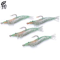 Wholesale Fishing Hooks Trolling Bait fishing lure molds Lifelike GreenShrimp Style Soft PVC Fishing Baits Hook fishing lures