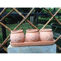 terra cotta pots - Terra Cotta Clay Set of Small Round Embossed Earthenware Planters or Herb Pots and Tray