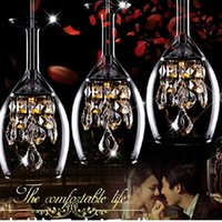 Wholesale New Crystal Wine glasses Bar Chandelier Ceiling Lights Pendant Lamp LED Lighting