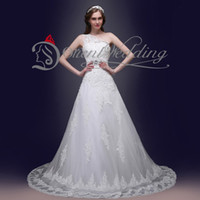 Cheap 100% Real Photo In Stock One-Shoulder A Line Crystals Sash Applique Sequins Pleats Wedding Dresses Court Train Bridal Gowns Lace-up Organza