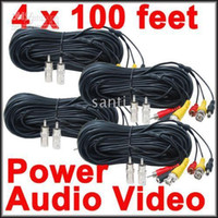 audio cables cameras - 100 feet Security Camera CCTV Audio Video Power Cables with Free BNC RCA Adapters