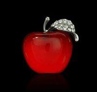 apple resin - wholsale hot sell apple shape resin shinning rhinestone brooches