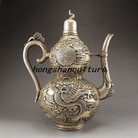 antique brass teapot - ANTIQUE SILVER PLATING COPPER HANDWORK CARVED DRAGON TEAPOT LM1782