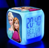 Wholesale 2016 Frozen LED Clocks Colors Change Alarm Clock Frozen Anna Elsa Thermometer Night Colorful Glowing Clock desk table alarm clock