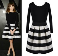Wholesale New Fashion Winter Spring Girls Wearing Cute Sweet Black White Striped Stitching Dress Long Sleeve Casual Dress Vestidos