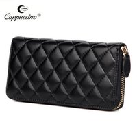 Wholesale Hot selling Fashion branded High Quality Plain Sheep Skin Genuine Leather Women Wallet of multi color and zipper style famous in us euro