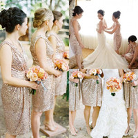 best rose pictures - Custom Made Best Selling Blingbling Rose Gold Sequins Knee Length Bridesmaid Dresses Maid of Honor Formal Beach Wedding Party Dresses