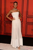 Wholesale Inspired by Joan Smalls White Strapless Evening Dress at CFDA Awards Ceremony with Satin Hem
