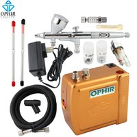 airbrush nail art equipment - Nail Tools Nail Art Equipment OPHIR V Mini Airbrush Compressor Set for Nail Art Cake Tips Dual Action Airbrush Kit with