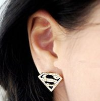 american trade mark - European and American trade of the original single big jewelry marking noir letters Superman S pattern earrings female earring