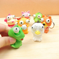 Wholesale Cute Animal Small Squeeze Toy Pop Out Eyes Doll Novelty Stress Relief Venting Keychain Joking Decompression Toys Key Chain Ring