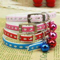 bell charm - DHL FREE Mix colors PU leather Personalized Charm Waterproof Resistant dirty Adjustable Dog Cat Pet Collar with bell Pet Supplies CW0019