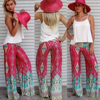 palazzo pants - New Womens Floral Casual Wide Leg Long Stretch Pants Bohemian Loose Palazzo Trousers Clothing