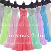 pink dress - 2015 IN STOCK Beaded Prom Evening Gowns Backless A Line Sweetheart White Grey Blue Lilac Green Pink Watermelon Long Formal Party Dress