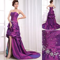 advanced art - Advanced Customization Sweetheart Beaded Appliques Flowers Ruffles Short Front Long Back Elegant Printed Prom Dresses Purple Trend