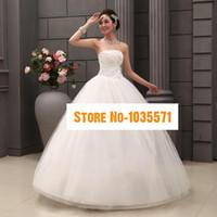 Wholesale 2015 New Bride Dress White Strapless Lace Wedding Dress Cheap Bridesmaid Toast Lace Wedding dress