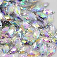 al por mayor piedra de costura de acrílico-Crystal Clear AB Rhinestones Coser On Flatback Acrílico Forma De Lujo Caballo Ojo Gemas Strass Piedras Para La Ropa Artesanía De Vestido