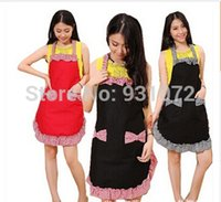 Wholesale thicker Korean beauty princess apron Cute Womens Bowknot Kitchen Apron Dress