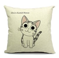 animal poetry - Dream Poetry Sweet Cat Cartoon Emotion Home Decorate Cat Sweet Cotton Linen Cushion Cover Cat Little Animal Printed Pillow Cover