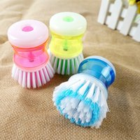 dish detergent - New Magic Kitchen Tool Cleaning Brush With Detergent Container Portable Wash Dish Bowl Scrubber Cleaner