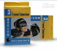 al por mayor máscara tapón-Cojín Set Viaje de aire del cuello almohada + Mascarilla Ojos + 2 Ear Plug Kit de Instalación de viaje cómodo negocios WY017 5P