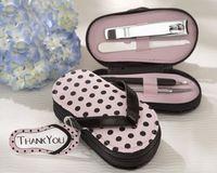 Wholesale 50sets slipper style Pink Polka Dot Purse Manicure Set Shower Favors Flip Flop Nail scissor Care Pedicure Set free ship