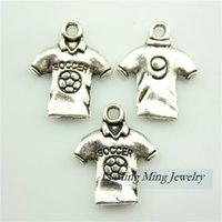 soccer jewelry - 40pcs x15mm Soccer Coat Charms Pendant Antique Bronze Silver Zinc Alloy DIY Retro Jewelry Accessories