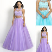 Wholesale 2015 Summer Two Pieces Prom Dresses with Applique and Beading Best Selling Ball Gowns Pageant Dress Ice Blue and Lilac Evening Gowns
